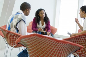 Photo of students talking at the Stamford Campus.