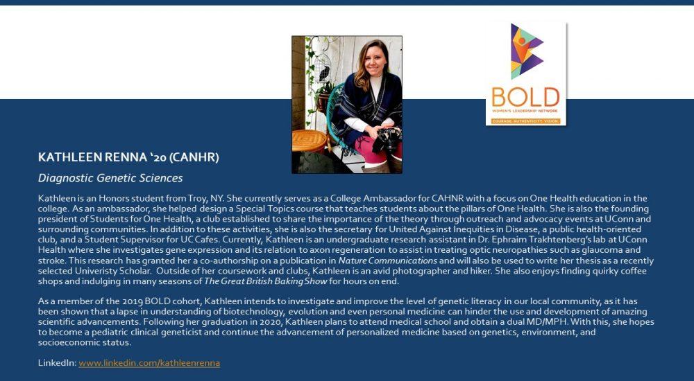 Profile of BOLD Scholar Kathleen Renna
