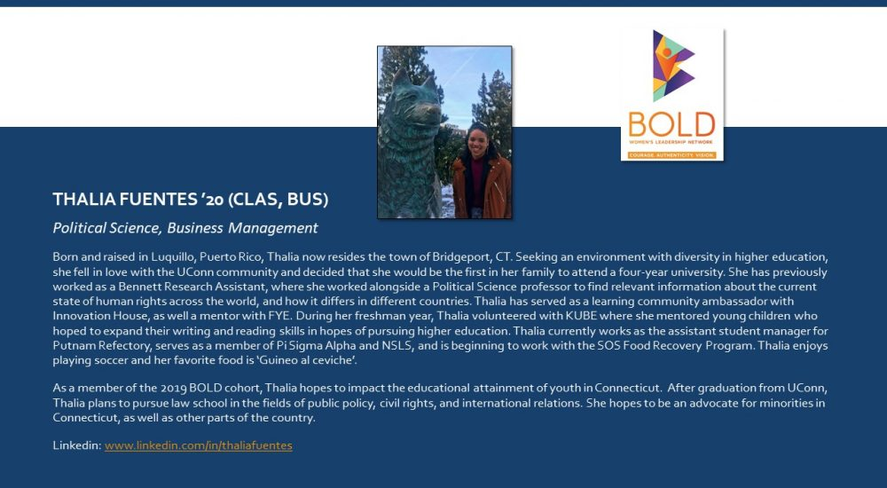 Profile of BOLD Scholar Thalia Fuentes