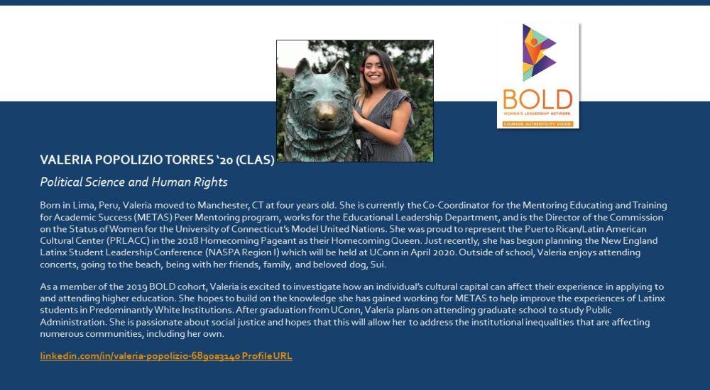 Profile of BOLD Scholar Valeria Popolizio Torres