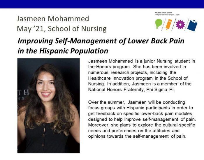 IDEA Grant Recipient Jasmeen Mohammed Bio.