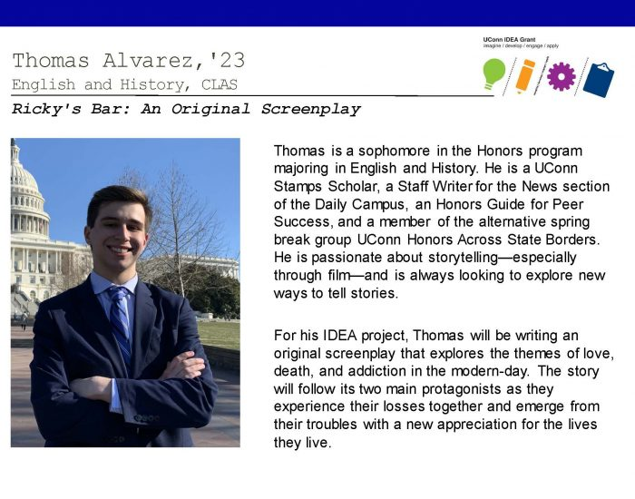 UConn IDEA Grant Recipient Thomas Alvarez Bio.