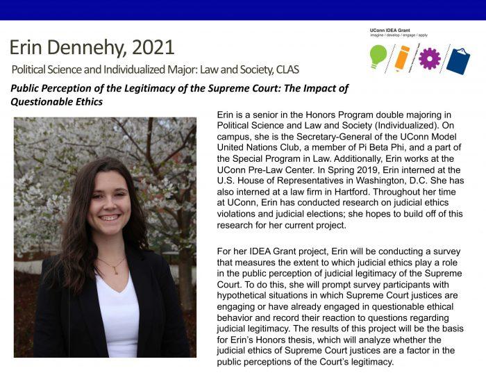 UConn IDEA Grant Recipient Erin Dennehy Bio.