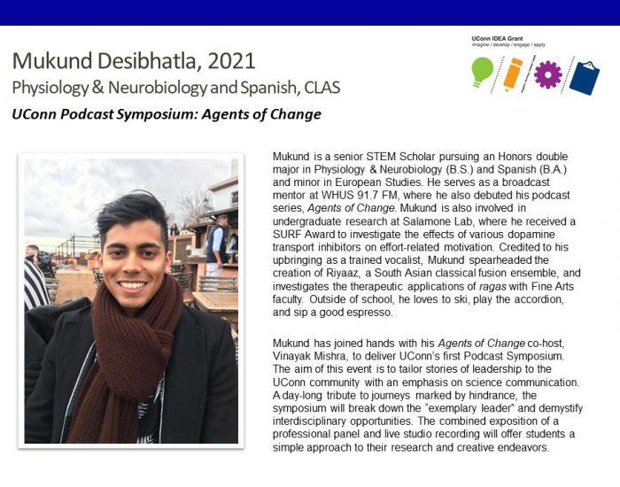 UConn IDEA Grant Recipient Mukund Desibhatla Bio.