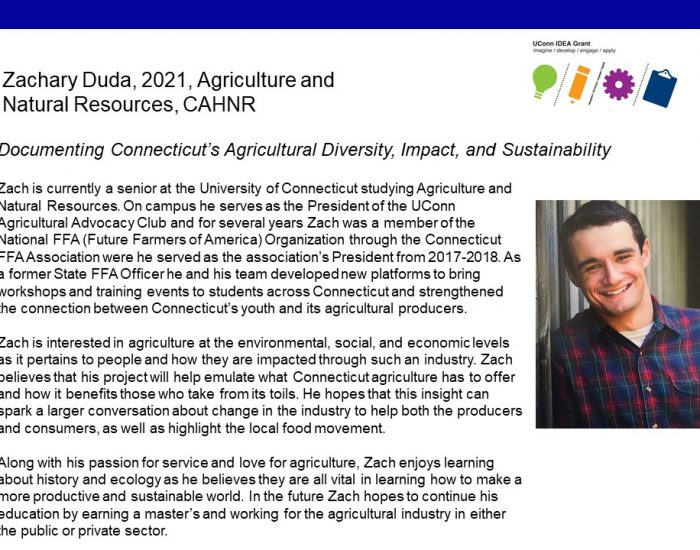 UConn IDEA Grant Recipient Zachary Duda Bio.