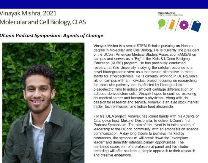 UConn IDEA Grant recipient Vinayak Mishra Bio.