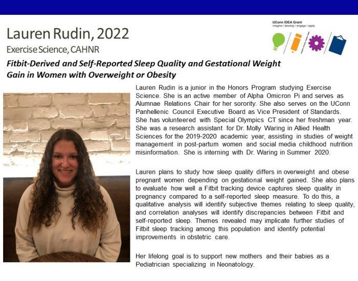 Lauren Rudin '22 - IDEA Grant Bio.