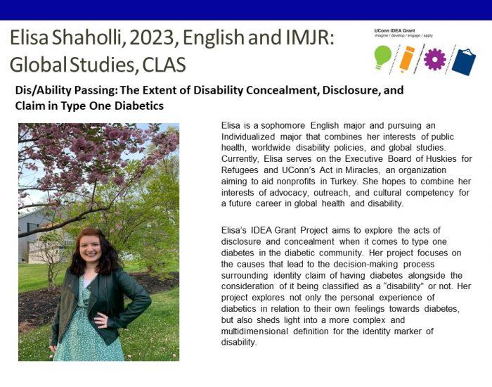 UCon IDEA Grant recipient Elisa Shaholli Bio.