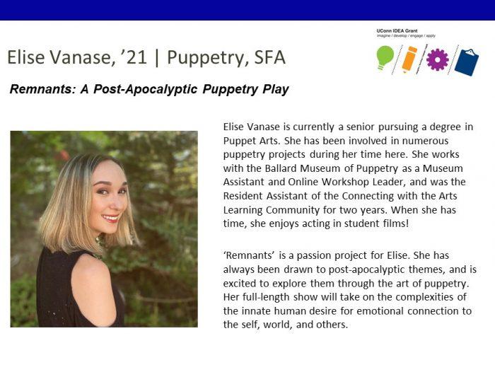 UConn IDEA Grant Recipient Elise Vanase Bio.