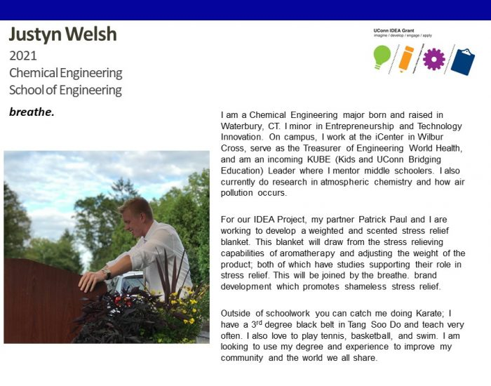UConn IDEA Grant Recipient Justyn Welsh Bio.