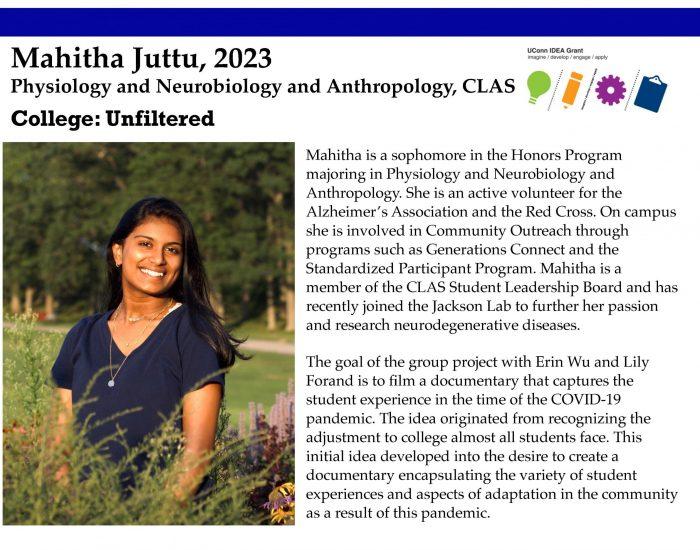 UConn IDEA Grant Recipient Mahitha Juttu Bio.