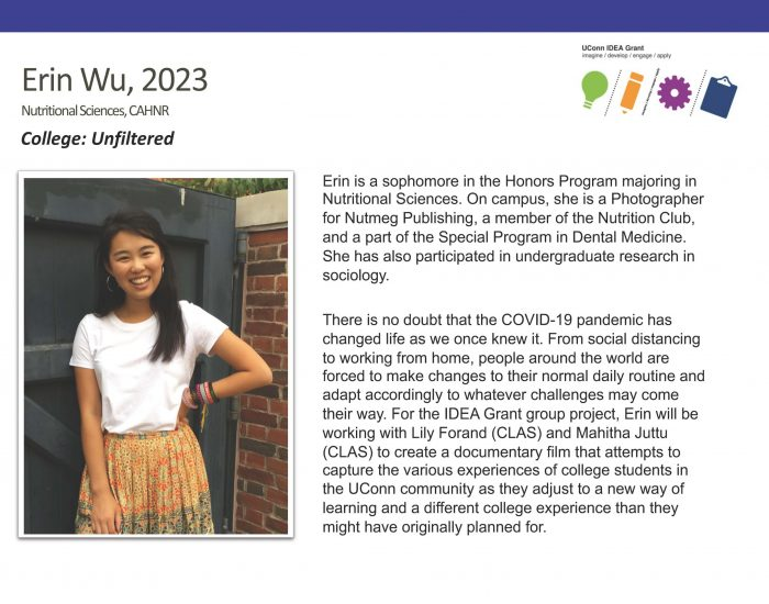 UConn IDEA Grant Recipient Erin Wu Bio.
