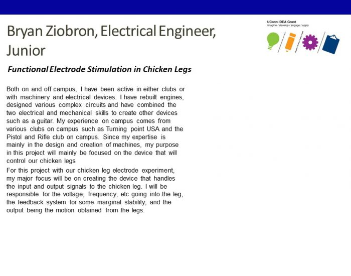 UConn IDEA Grant Recipient Bryan Ziobron Bio.