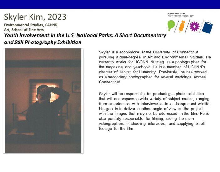 UConn IDEA Grant Recipient Skyler Kim Bio.