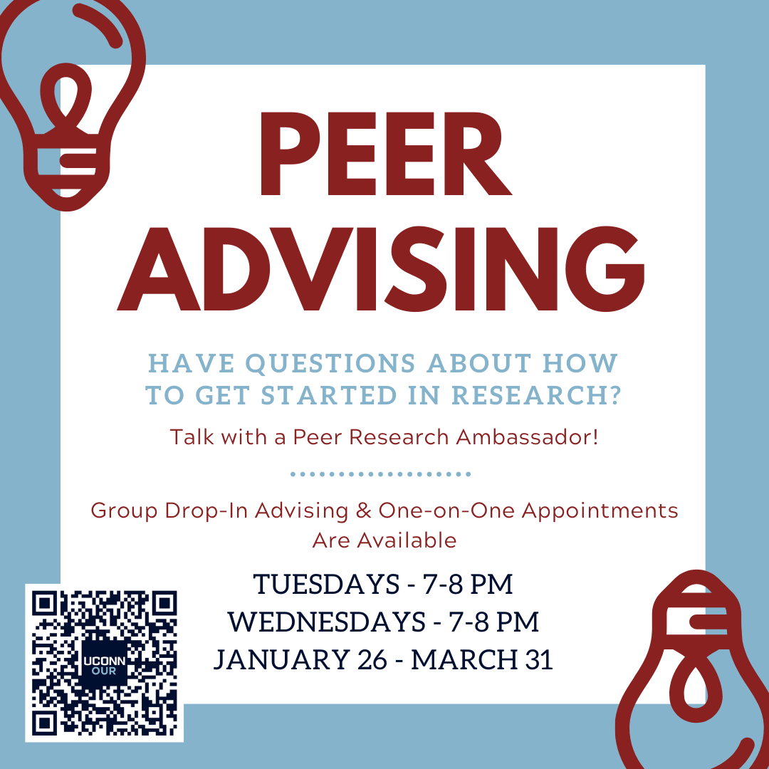 Peer Advising. Have questions about how to get started in research? Talk with a Peer Research Ambassador! Group Drop-In Advising & One-on-One Appointments Are Available Tuesdays 7-8pm and Wednesdays 7-8pm, January 26-March 31.