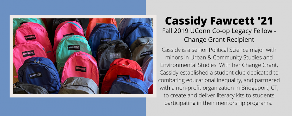 Cassidy Fawcett '21. Change Grant Recipient.