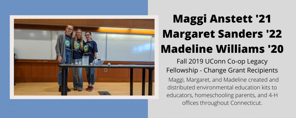 Fall 2019 Change Grant Recipients Maggi Anstett, Margaret Sanders, and Madeline Williams.