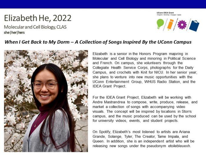 UConn IDEA Grant Recipient Elizabeth He Bio.