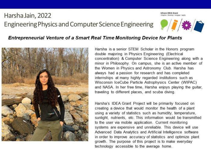 UConn IDEA Grant Recipient Harsha Jain Bio.