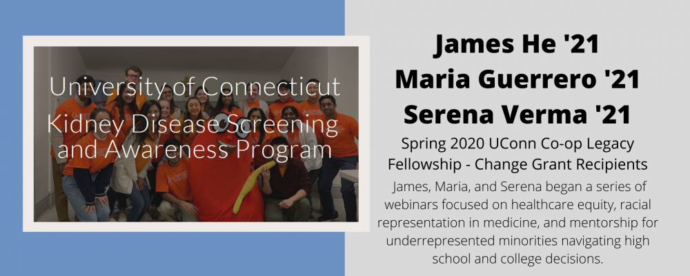 Change Grant Recipients James He, Maria Guerrero, Serena Verma - Alumni Profile Link.