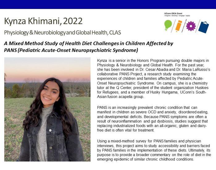 UConn IDEA Grant Recipient Kynza Khimani Bio.