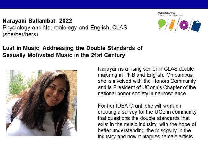 UConn IDEA Grant Recipient Narayani Ballambat Bio.