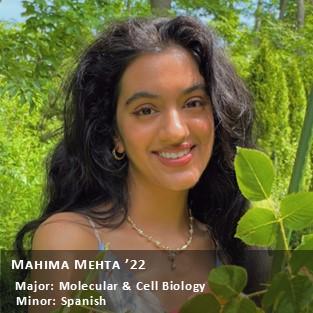 OUR Peer Research Ambassador Mahima Mehta '22.
