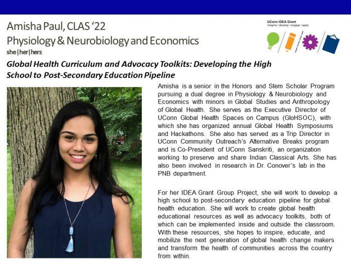 UConn IDEA Grant Recipient Amisha Paul Bio.