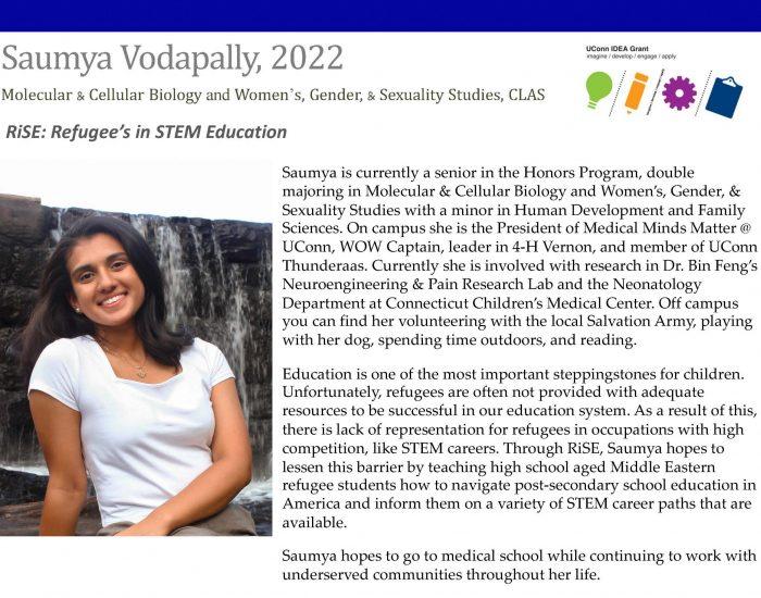 UConn IDEA Grant Recipient Saumya Vodapally Bio.