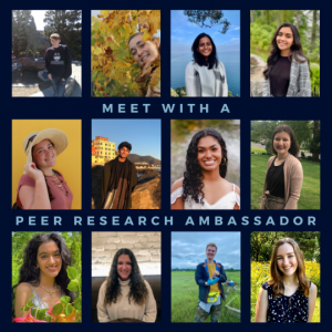 Meet with a Peer Research Ambassador! Includes photos of the 12 2021-22 PRAs.